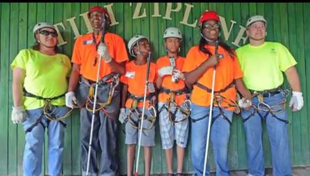 Video: Visually impaired youths try zip line at Lighthouse Louisiana camp _lowres