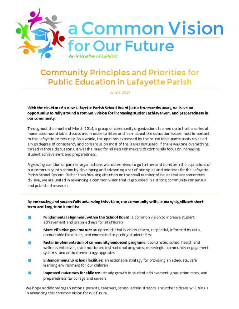 Lafayette groups lay out priorities for public schools _lowres