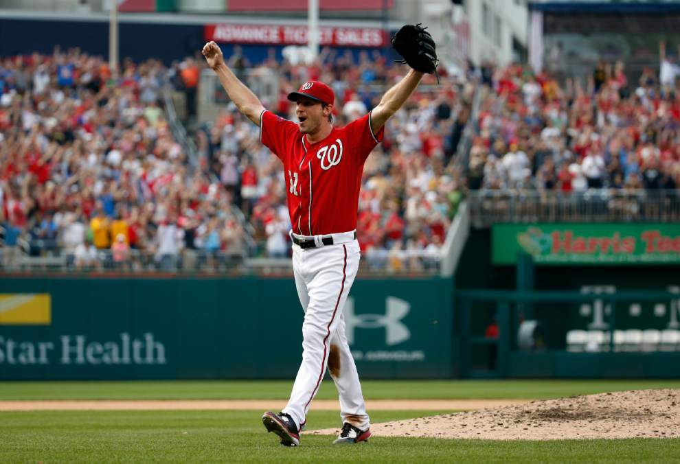 Almost perfect: Nationals' Max Scherzer settles for no-hitter after hitting Pirates' Jose Tabata in the ninth inning _lowres