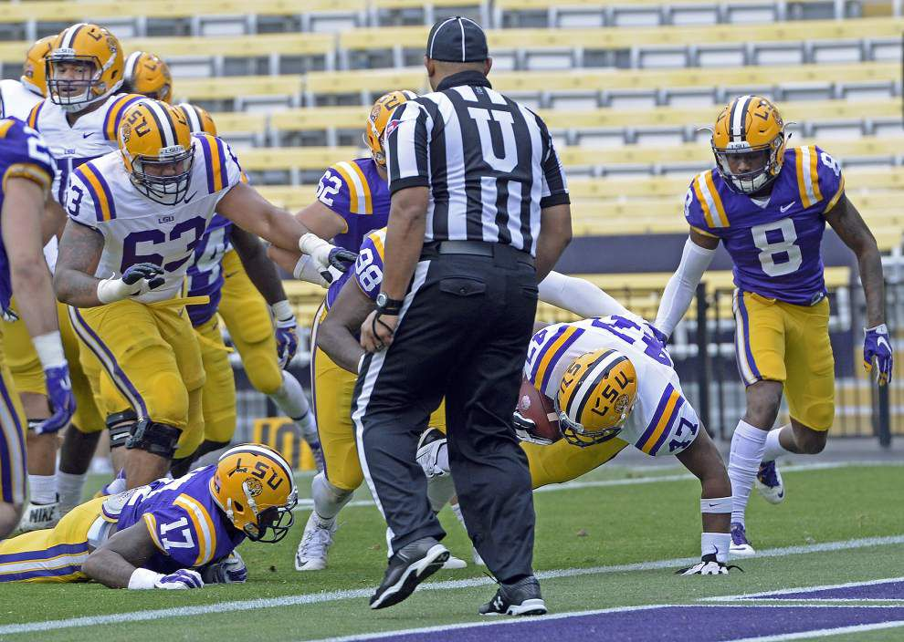 LSU's Bry'Kiethon Mouton shines in ole fullback dive play _lowres
