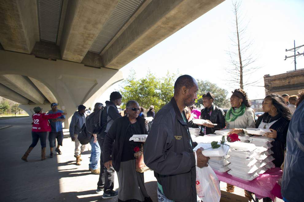 Homeless treated to some Valentine's Day love under Baton Rouge overpass _lowres