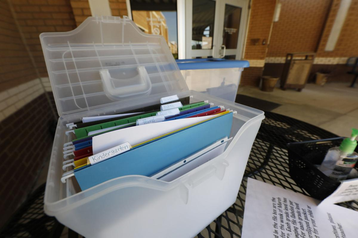 Coronavirus file photo stock of homework packets