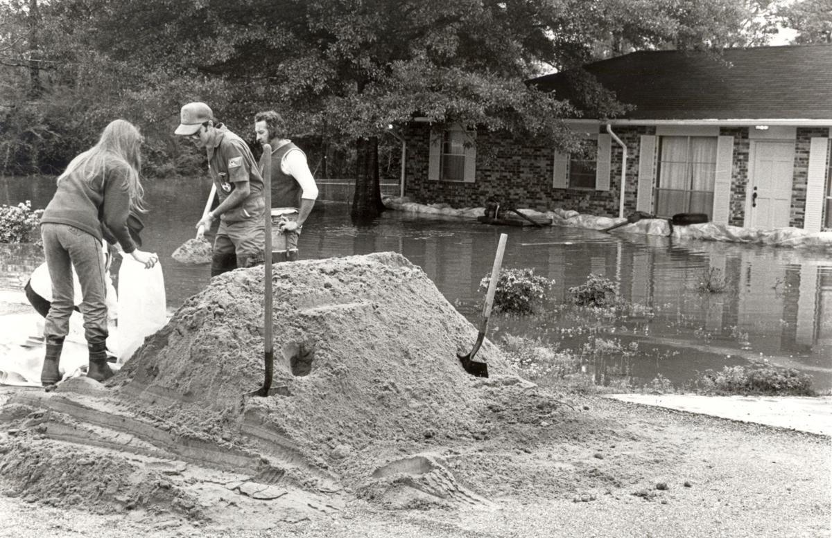 Filling sandbags in 1983
