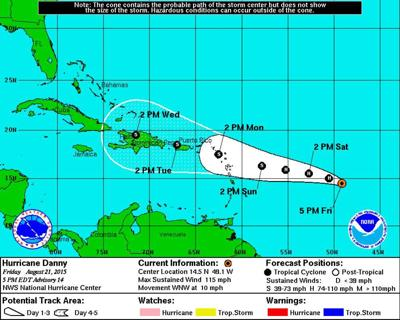 Hurricane Danny packing winds of 90 mph, expected to weaken as storm nears Puerto Rico _lowres