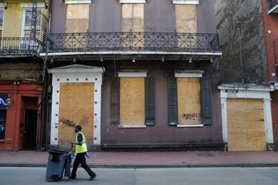 Coronavirus file photo stock of closed business on Bourbon Street