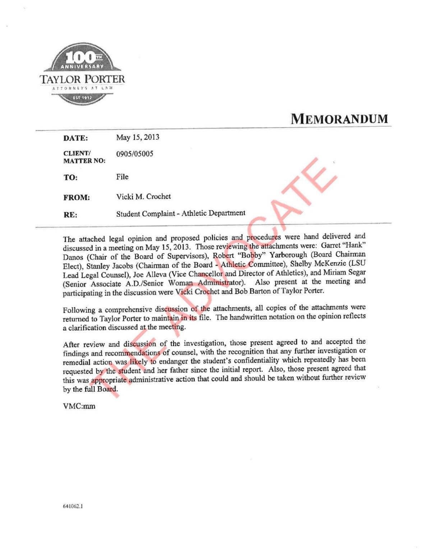 Les Miles 2013 sexual harassment investigation report