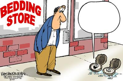 Oysters at a bedding store?! Who can write the funniest punchline for Walt Handelsman's latest Cartoon Caption Contest?!!