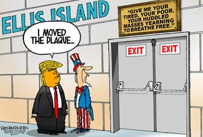 Walt Handelsman: Meanwhile, on Ellis Island...