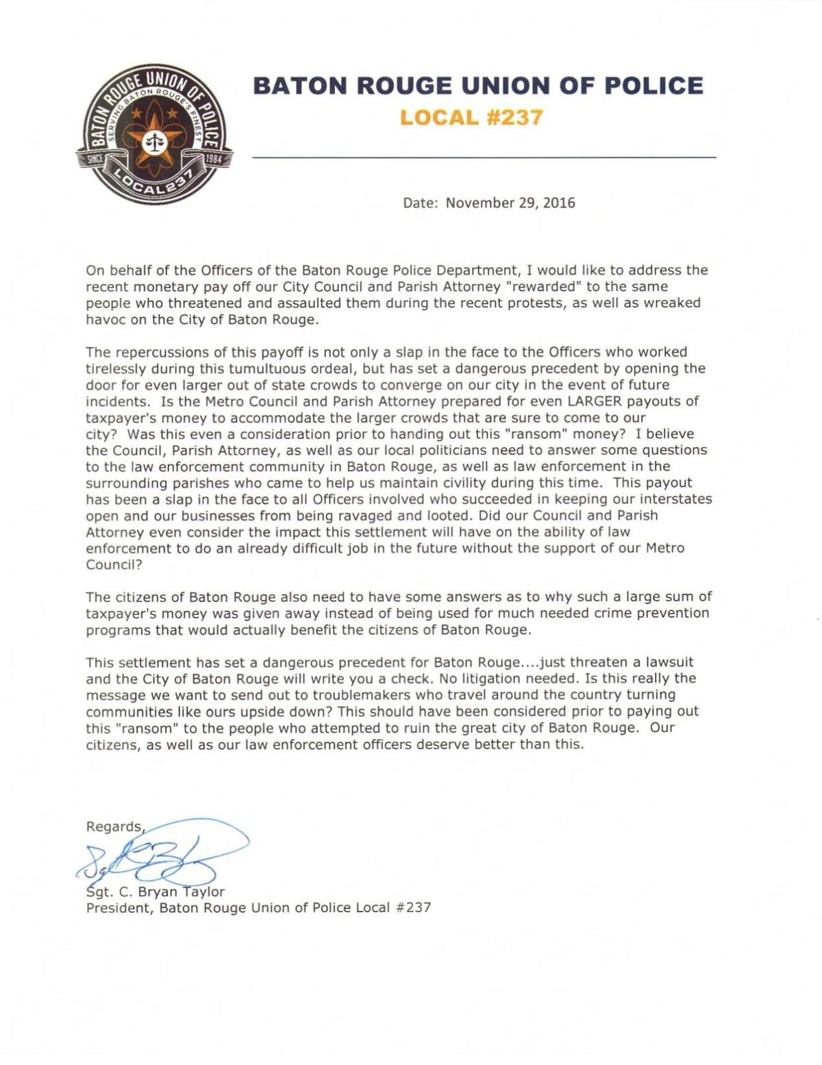 BR Union of Police letter