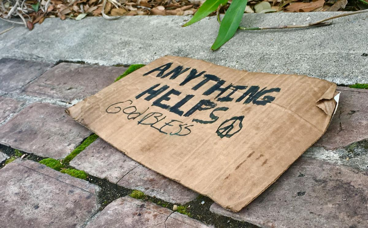 Panhandle panhandling sign beggar begging