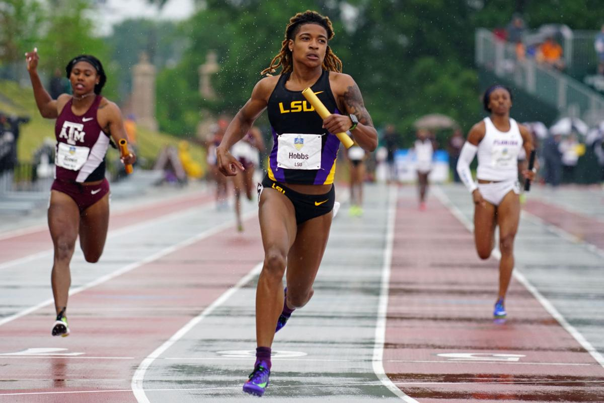 LSU's Aleia Hobbs, shown in a 2017 file photo, won the Texas Relays 100  meters title on Saturday with a wind-aided time of 10.86 seconds.