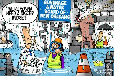 Walt Handelsman: Biden Visits NOLA Sewerage and Water Board
