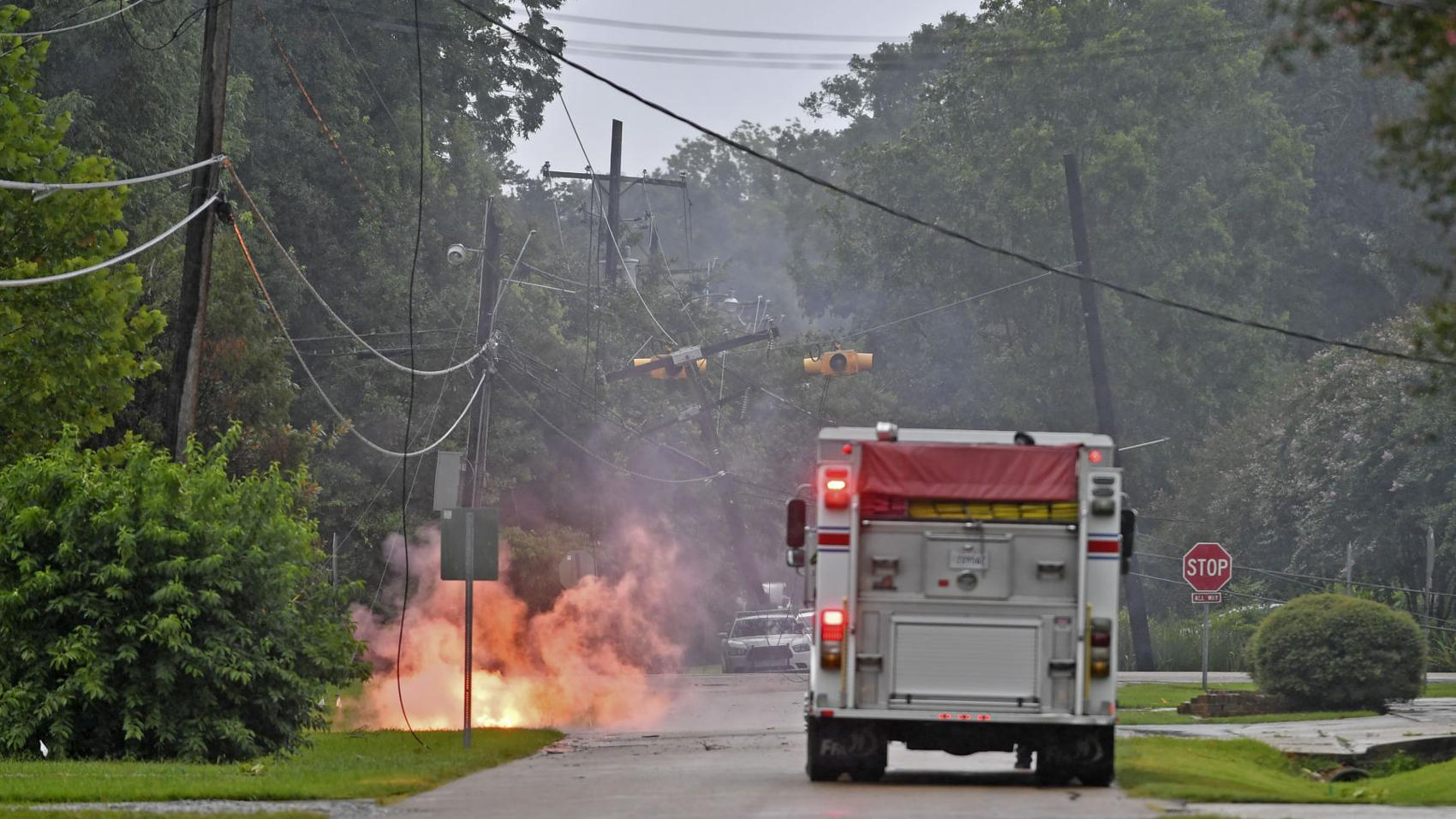 Photos, video: Hurricane Barry impacts Baton Rouge area; downed power line sparks fire