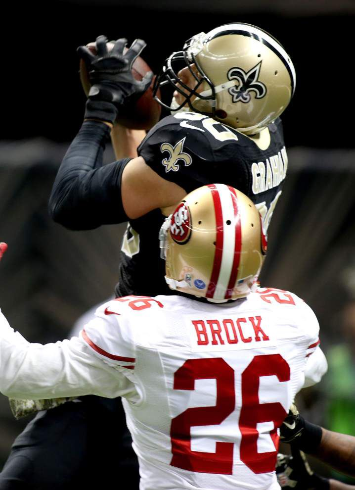 Jimmy Graham disagrees with interference penalty; Drew Brees on Saints fans' boos _lowres