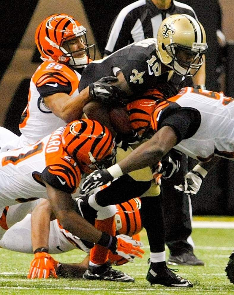 Saints tight end Jimmy Graham says he is still managing the pain in his shoulder _lowres