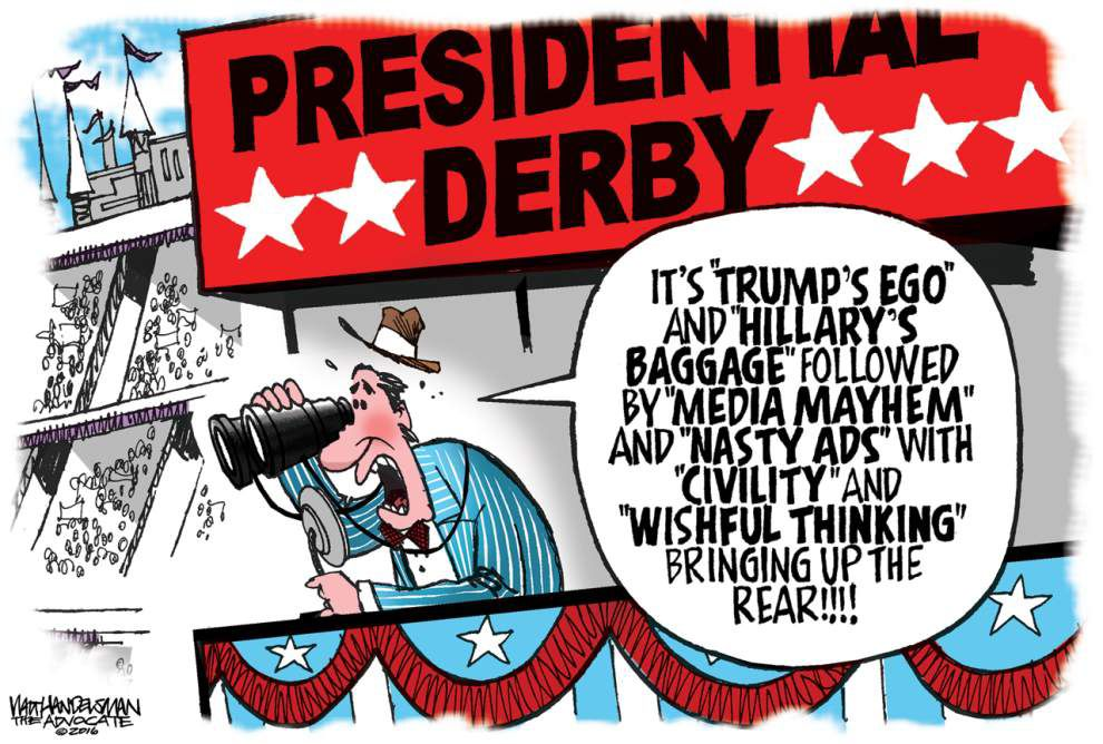 Walt Handelsman: Presidential Derby 2016 ... and they're off! _lowres