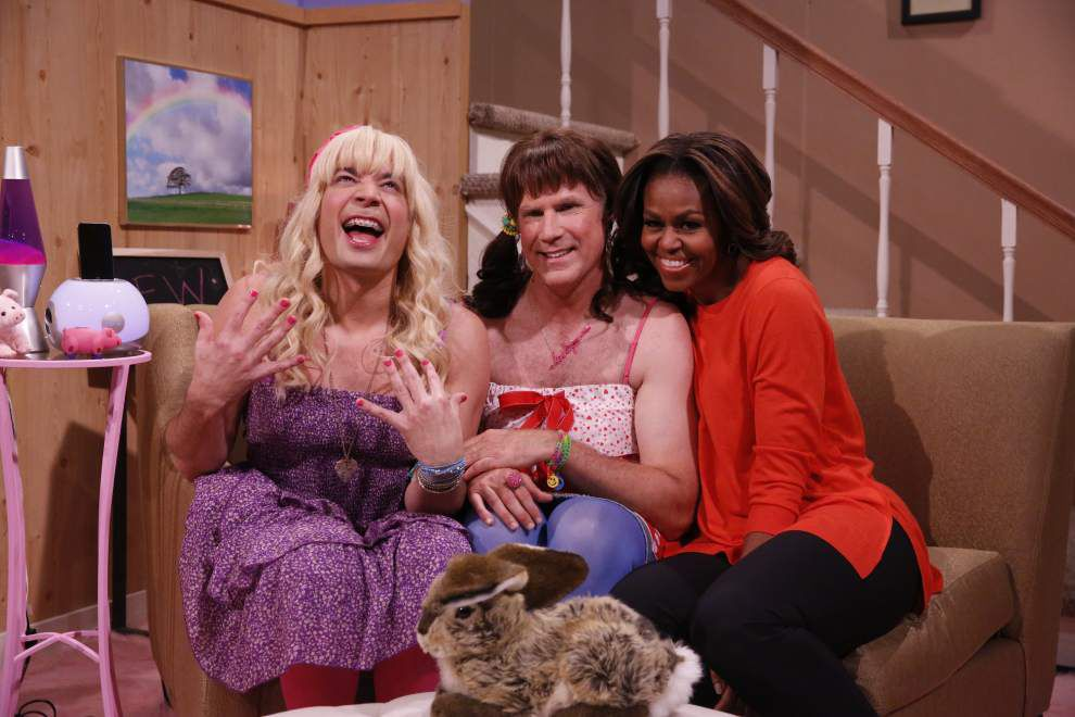 First lady pays visit to new 'Tonight Show' host _lowres