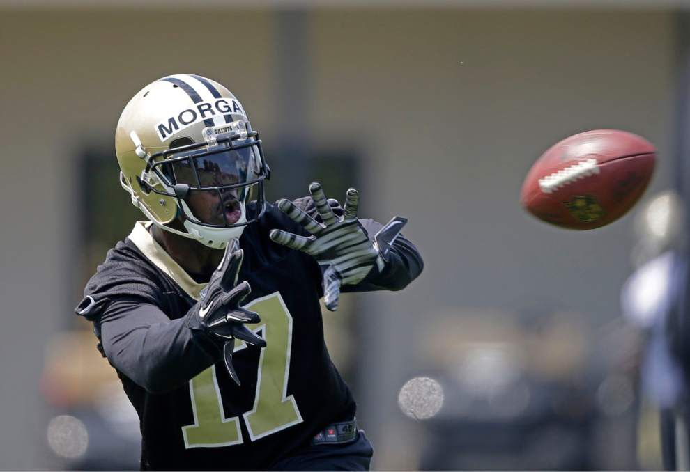 Receiver Josh Morgan willing to do the dirty work in competition for Saints roster spot _lowres