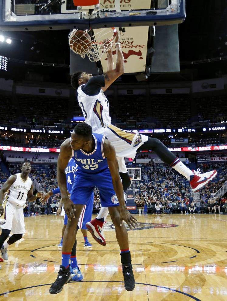 Pelicans open second half with 121-114 win over hapless 76ers _lowres