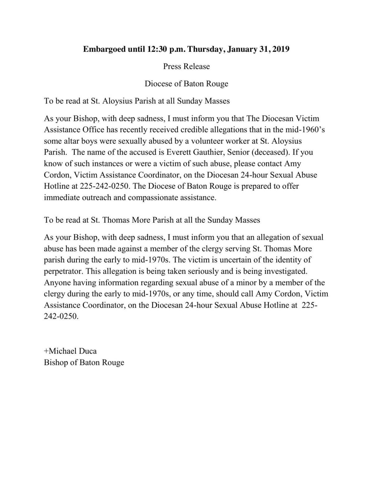 St. Thomas More and St. Aloysius Press Release