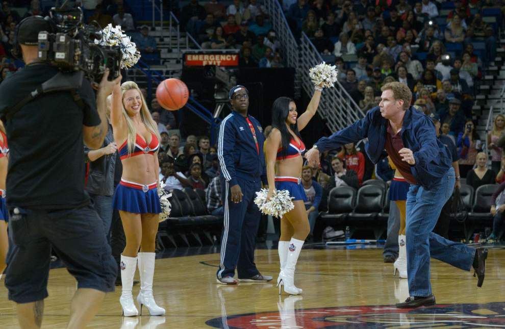 Photos: Will Ferrell, Mark Wahlberg stun Pelicans, Lakers fans, tape movie scene at halftime _lowres