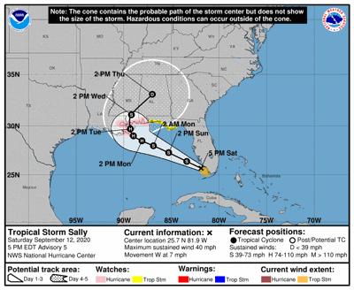 Tropical Storm Sally forecast track as of 4 p.m. Saturday, Sept. 12