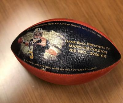 Drew Brees commemorative football