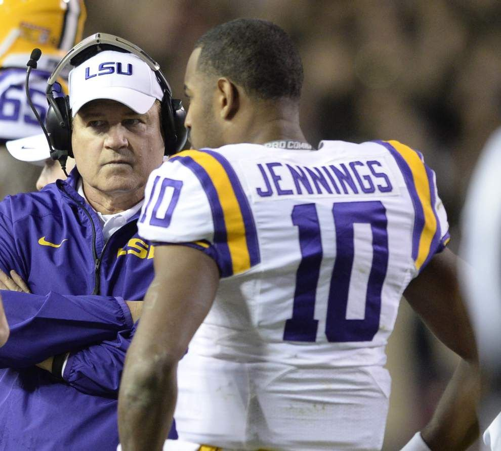 Les Miles: Anthony Jennings 'pretty crisp' in latest scrimmage _lowres