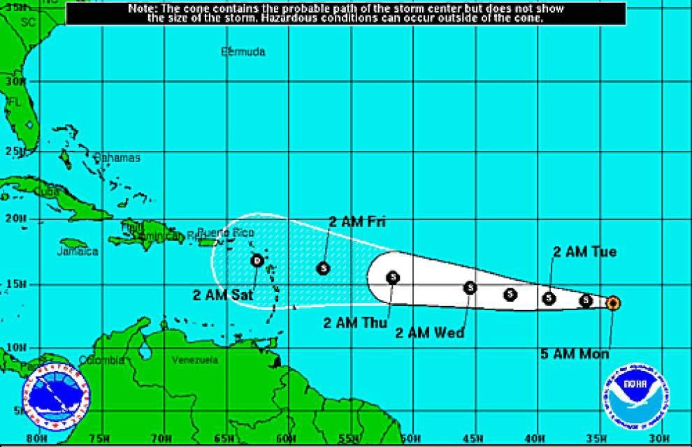 Tropical Storm Grace moving west across the Atlantic, expected to weaken _lowres