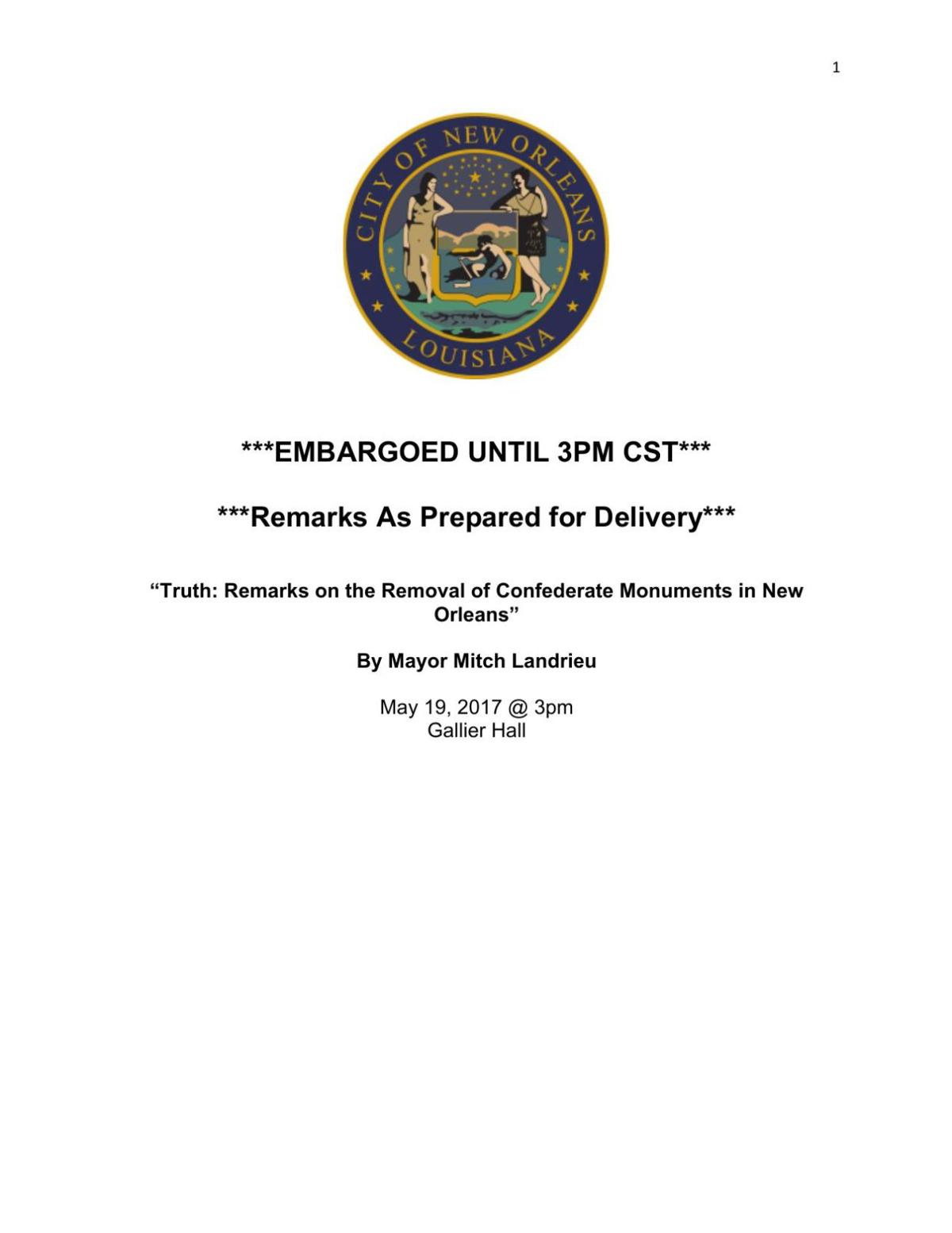 Full text of Mitch Landrieu's Friday speech on monument removals
