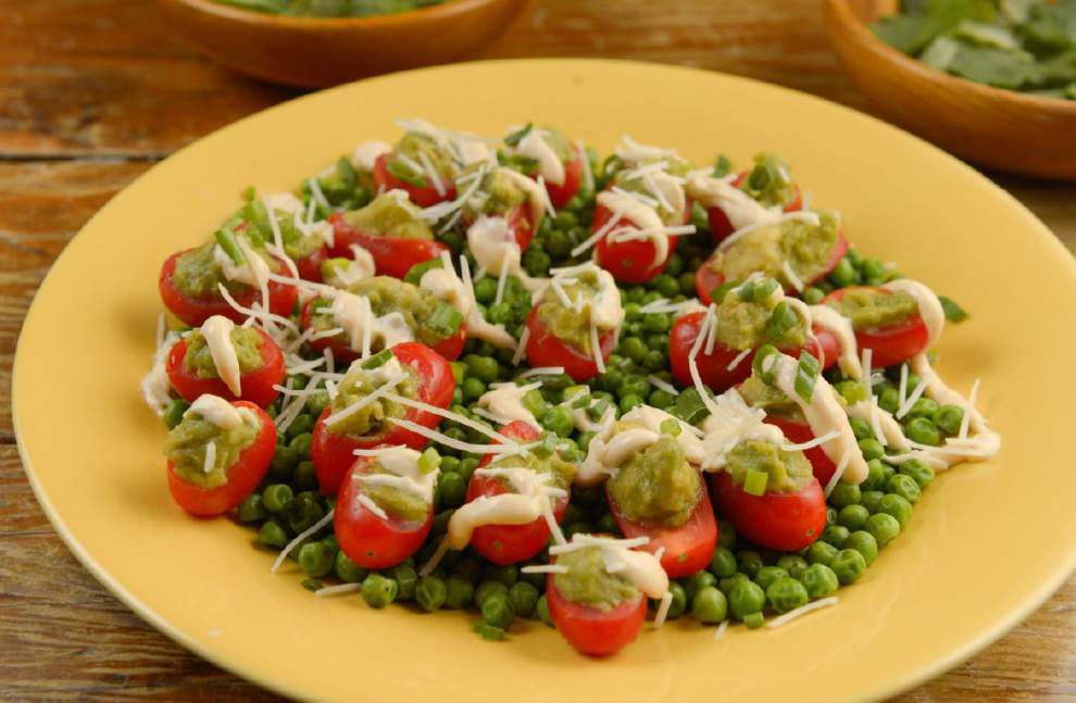 Tomatoes With Guacamole and Steamed Sweet Peas _lowres