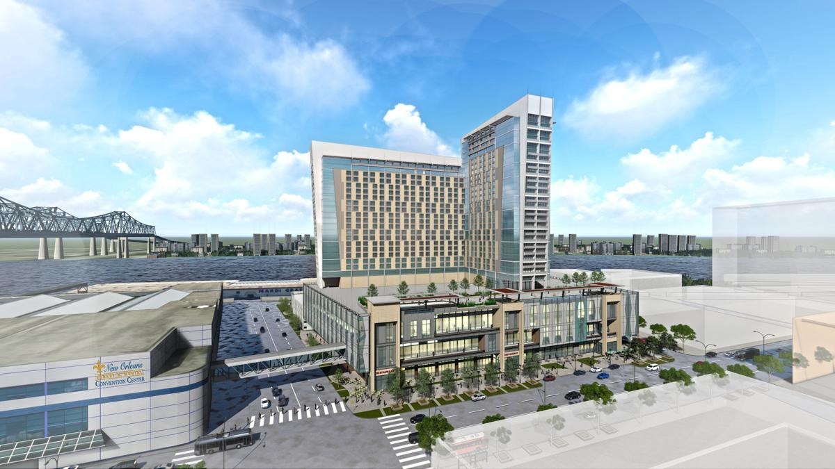Initial design of the convention center headquarters hotel