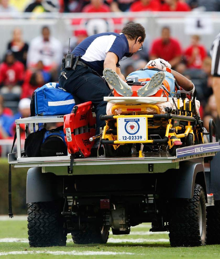 Southern's Devon Gales suffers spinal injury in game at No. 7 Georgia, is being treated at hospital _lowres