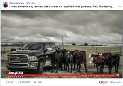 Abraham for governor ad causes dust up