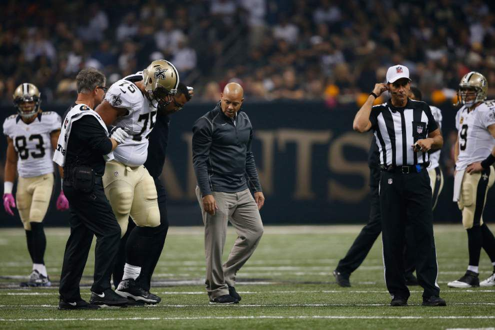 Saints notebook: Andrus Peat exits in the first quarter with an apparent leg injury _lowres