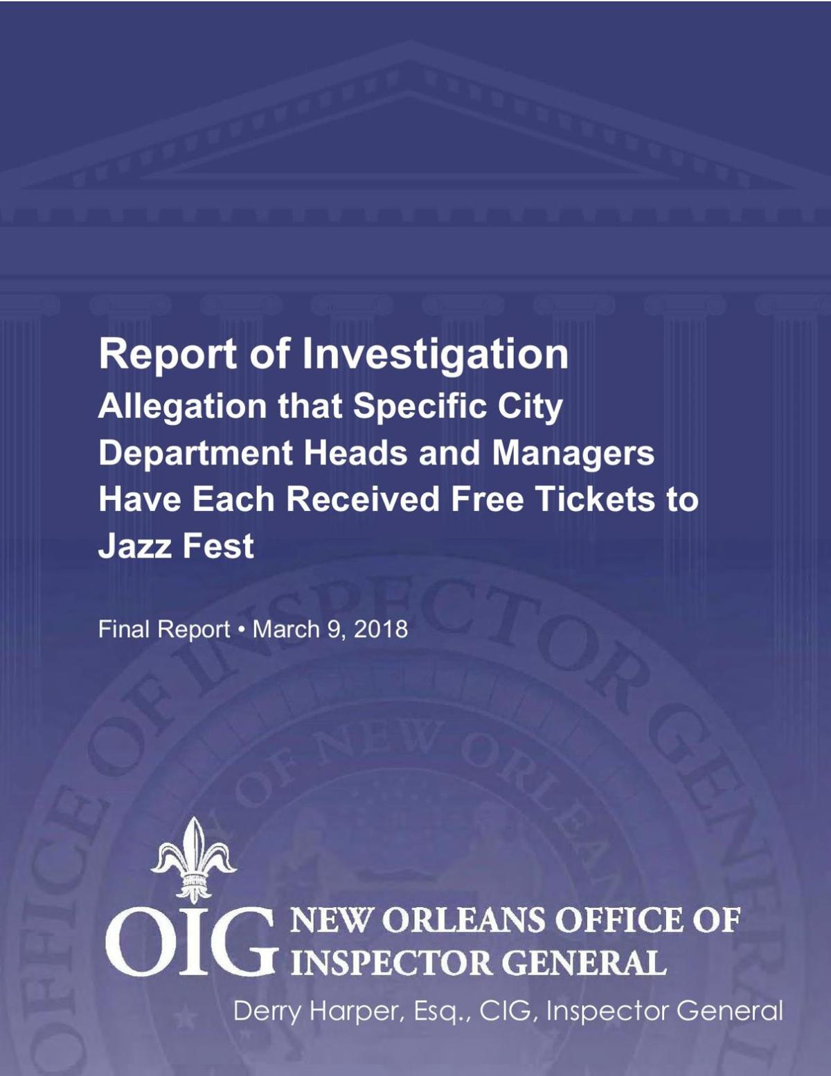 New Orleans Inspector General's Report on JazzFest tickets given to city employees
