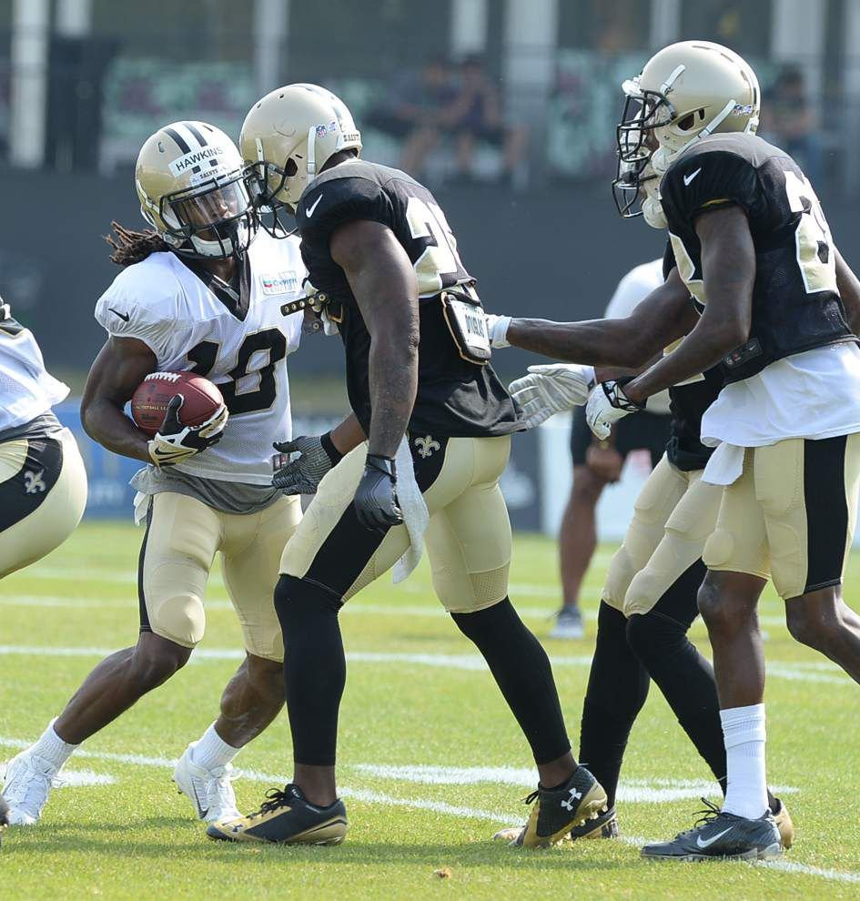 Cornerbacks Keenan Lewis and Patrick Robinson dressed for Saints' Wednesday practice _lowres