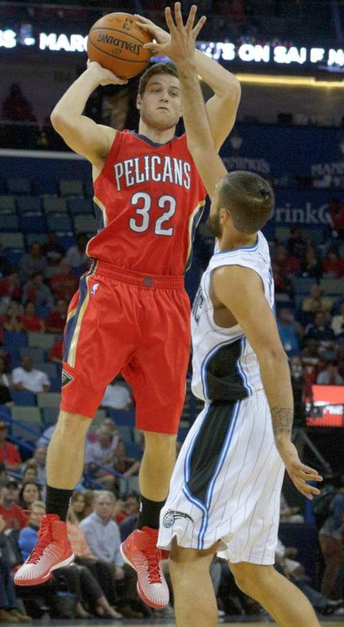 New Orleans Pelicans guard Jimmer Fredette working to get in the grove off the bench _lowres