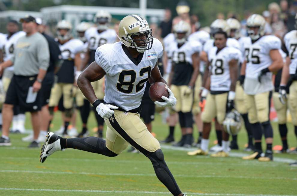 Saints tight end Ben Watson and wide receiver Willie Snead are on opposite end of the spectrum at training camp _lowres