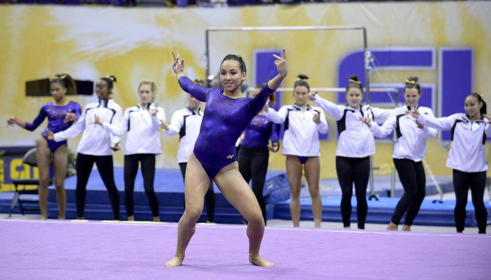 LSU gymnasts roll despite jitters _lowres