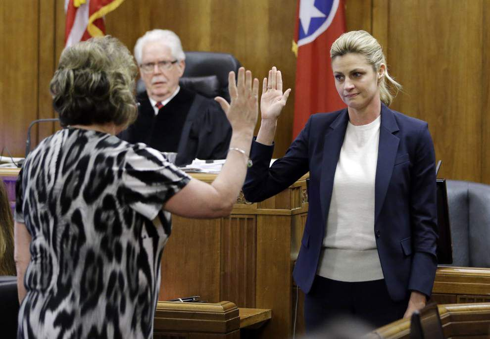In tearful testimony, TV reporter Erin Andrews: LSU's Les Miles supportive when videos went public _lowres