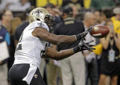 Saints tight end Benjamin Watson returns to training camp after missing time for the birth of his daughter _lowres