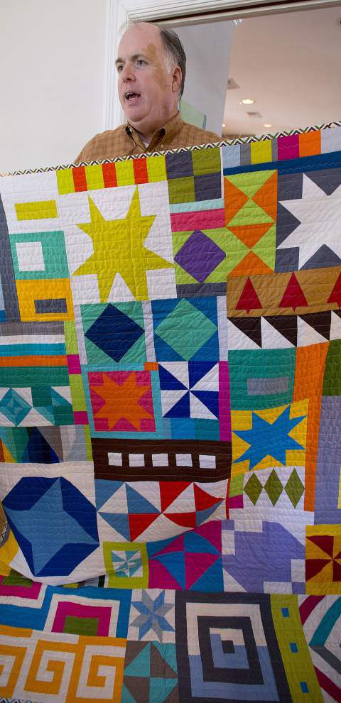 Man 'blown away' by modern quilting, finds new hobby among vivid colors, graphic shapes _lowres