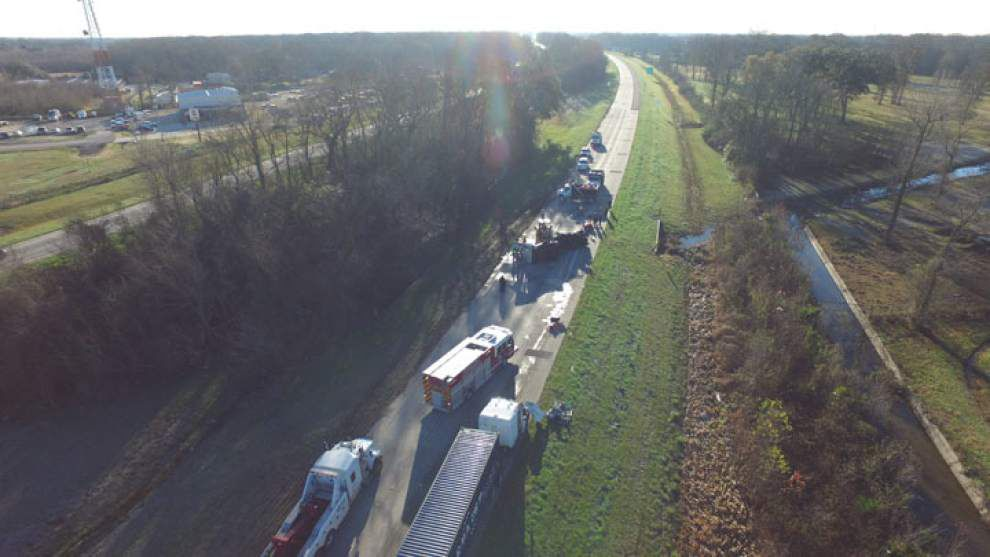 See a drone video of the aftermath after 18-wheeler overturns, snarling I-10 morning traffic _lowres