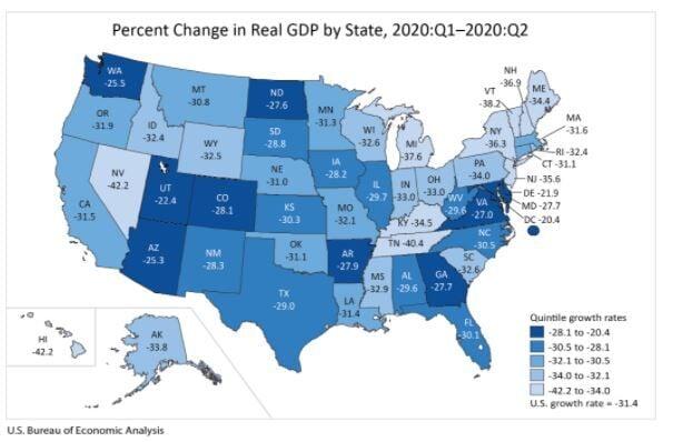 Louisiana Real Gross Domestic Product 2020