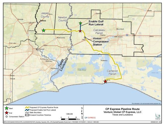 Venture Global's CP2LNG project in Cameron Parish map