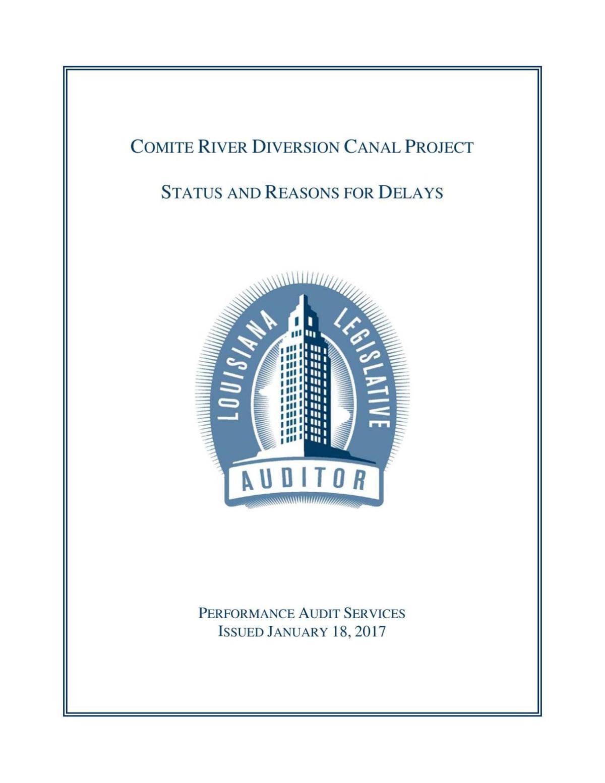 Comite River Diversion Canal Project Audit Jan 23, 2017