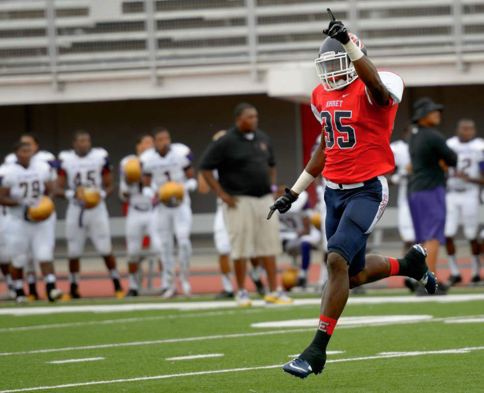 St. Augustine receiver Stanley Morgan; Ehret linebacker Michael Divinity stand out in scrimmage _lowres
