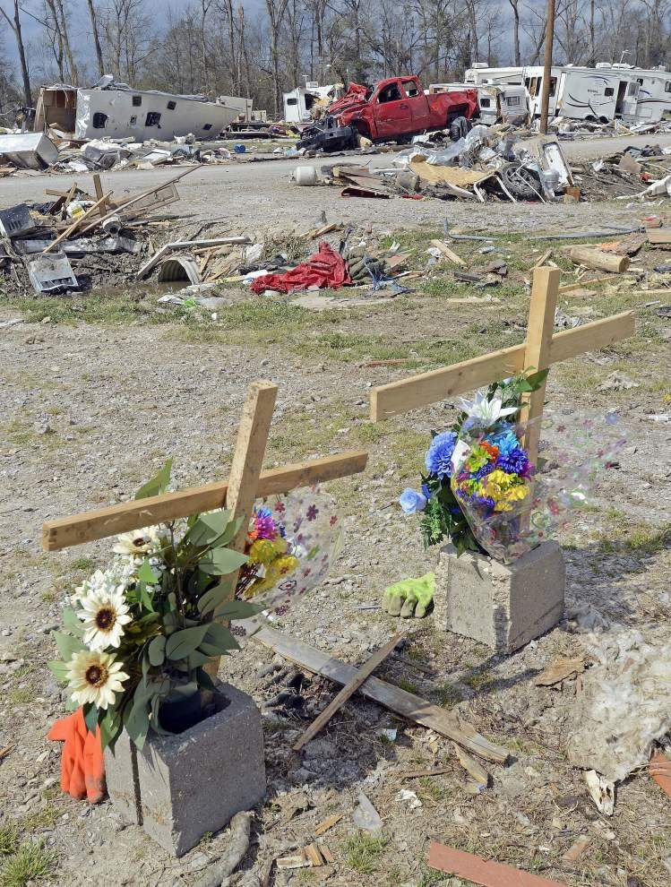 After quiet memorial for Convent tornado victims Tuesday, demolition and cleanup work begins again _lowres