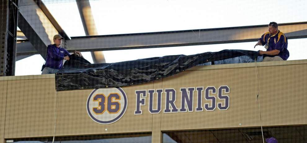 'I still can't believe it': LSU baseball icon Eddy Furniss' No. 36 retired in emotional ceremony at Alex Box Stadium _lowres